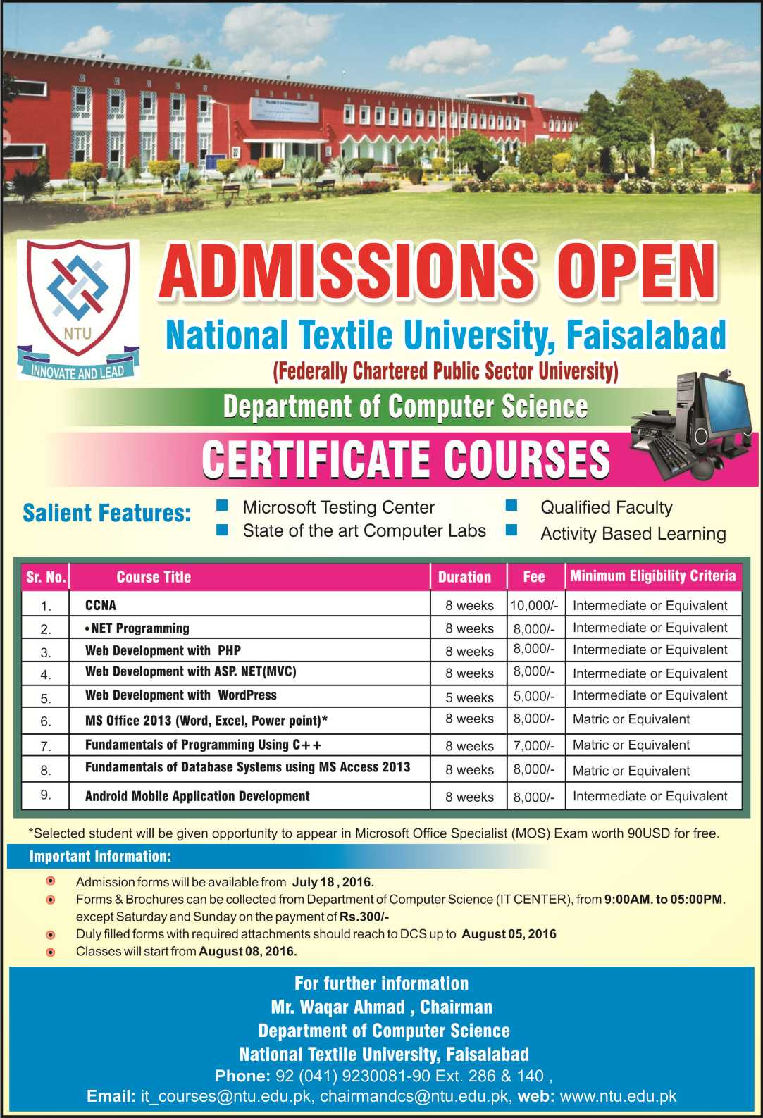 Admission open in it short courses ntu admission open in it short courses sciox Choice Image
